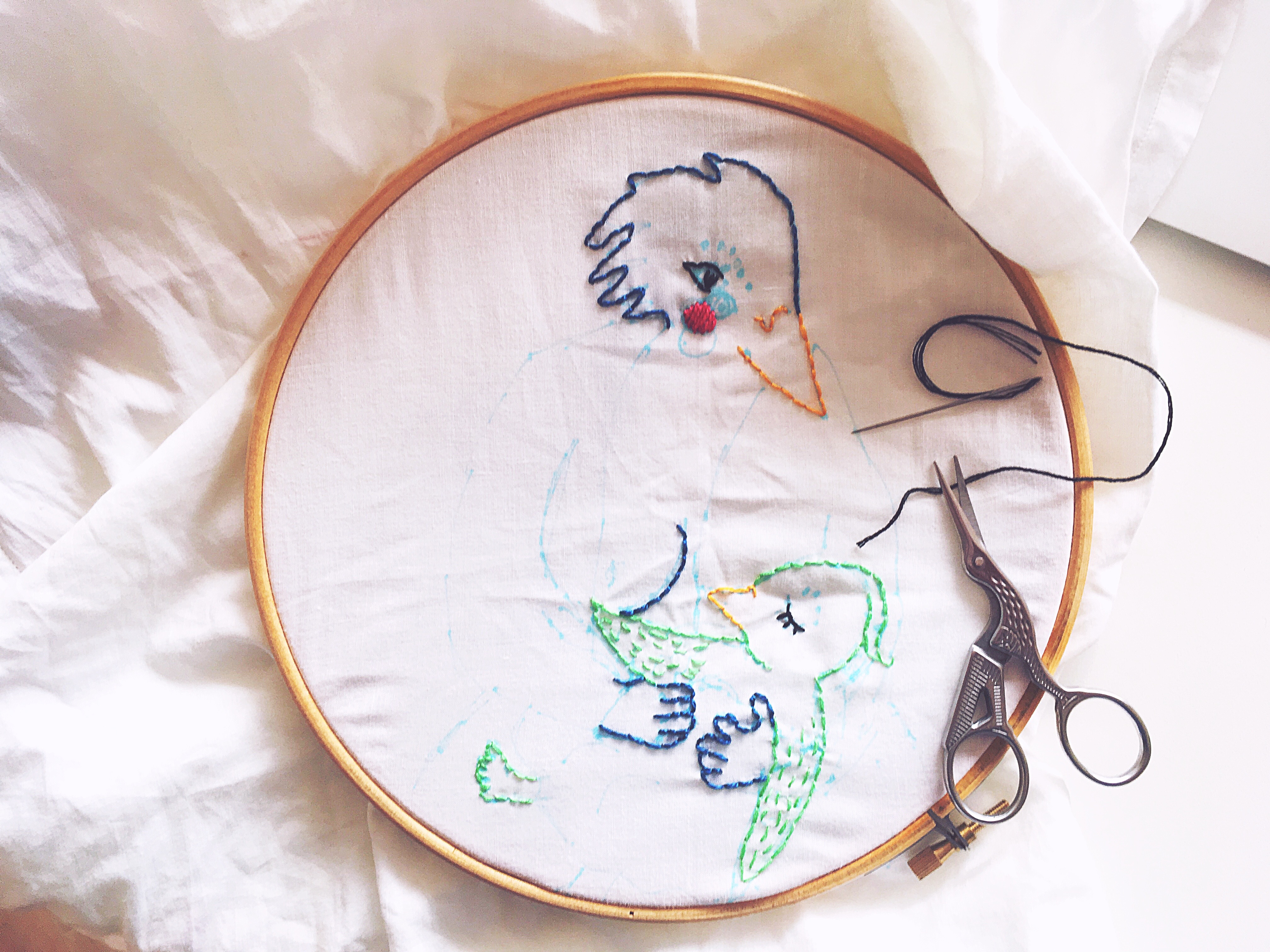 A handembroidery in progress