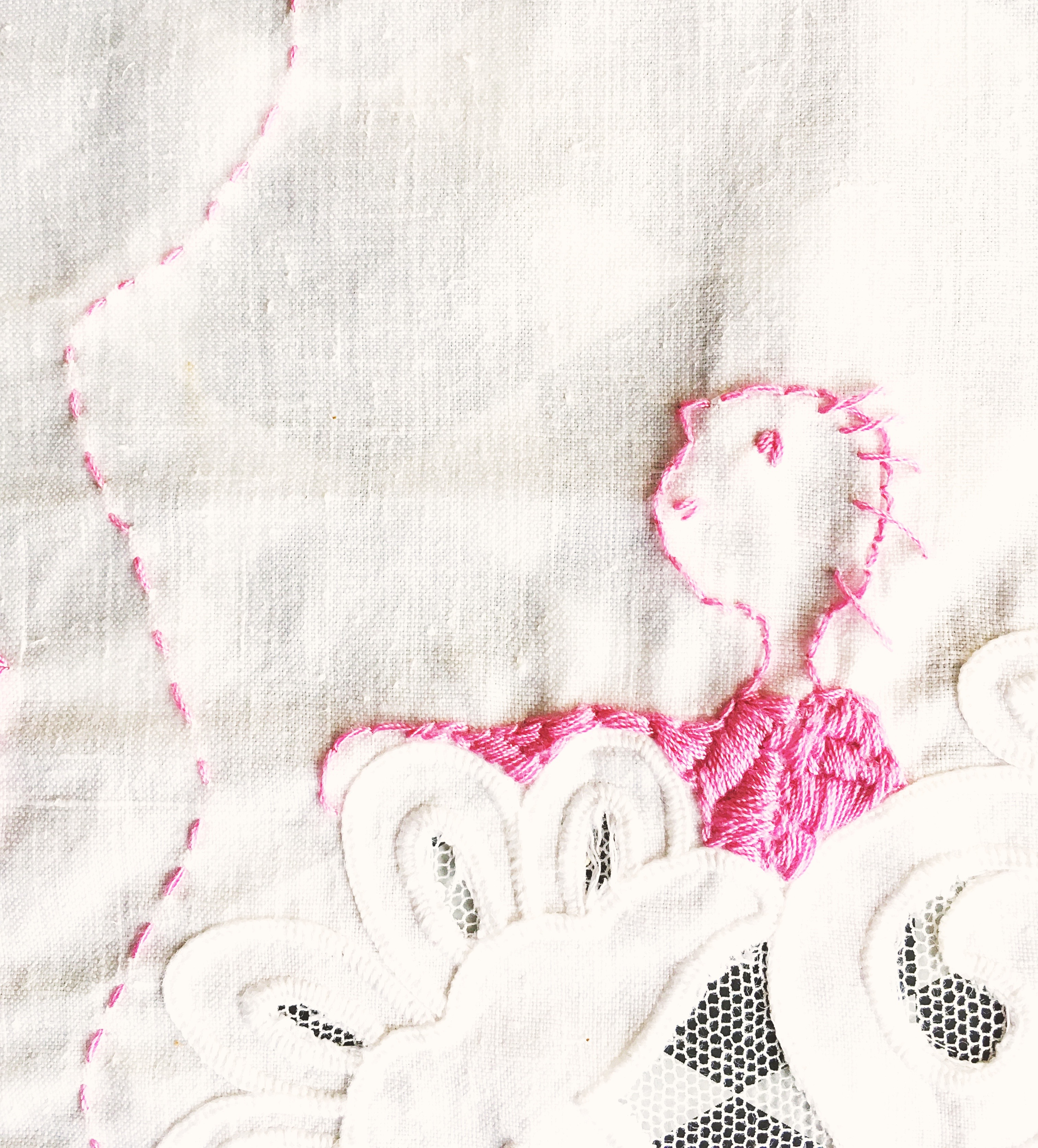 A detail from a hand embroidery on vintage textile