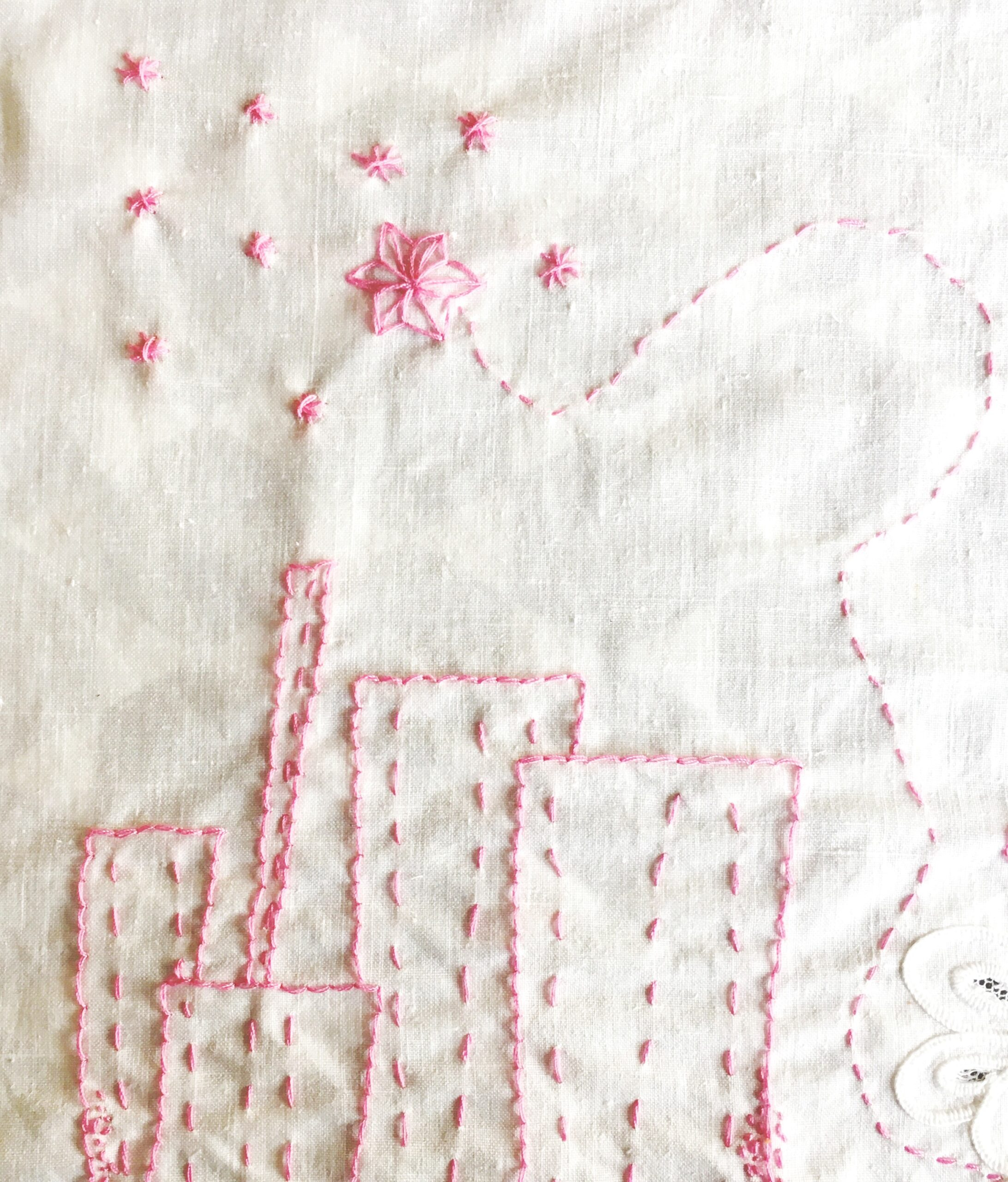 Detail from hand embroidery on vintage fabric