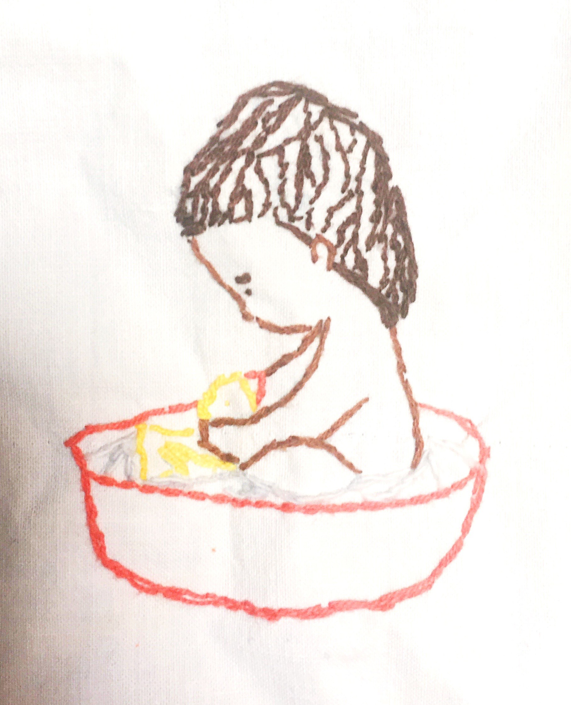 Handembroidery, child bathing